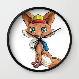 Fox Back to School Kids Pre-School Elementary Wall Clock
