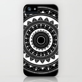 Ukatasana white mandala on black iPhone Case