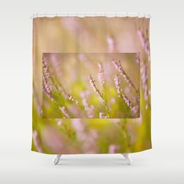 Soft focus of pink heather macro Shower Curtain
