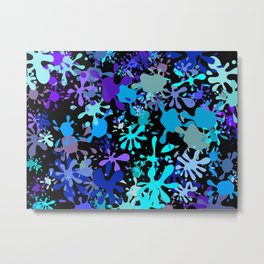 Blue Paint Splatters Metal Print