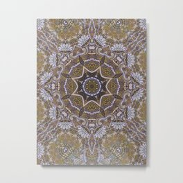 Pastel Gold Stained Glass Mandala Metal Print