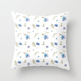 Blue watercolor flowers #2 Throw Pillow