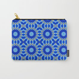 Blue and Yellow Circle Repeating Pattern Carry-All Pouch