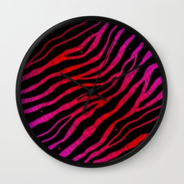 Ripped SpaceTime Stripes - Pink/Red Wall Clock