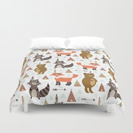 Bohemian orange brown forest animal arrows tribal pattern Duvet Cover