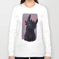 toothless Long Sleeve T-shirts featuring Toothless by tsunami-sand