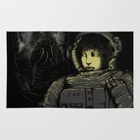 horror Area & Throw Rugs featuring Space Horror by Pigboom Art