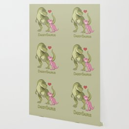 DaddySaurus T-Rex Father & Baby Girl Dinosaurs Wallpaper