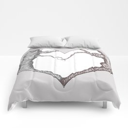 Two Trees in Love Sweetheart Valentine Illustration Comforters