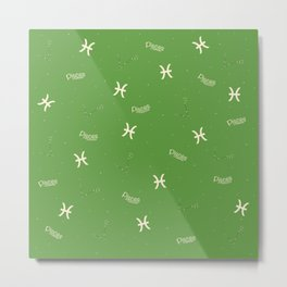 Pisces Pattern - Green Metal Print