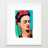 frida Framed Art Prints featuring Frida by Jaleesa McLean