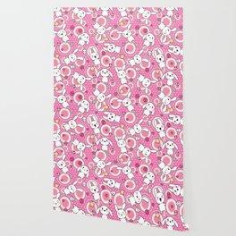 Kawaii Pastel Goth Bunny Pink Circles Wallpaper