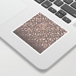 Rosegold - abstract floral elegant pattern on grey background Sticker