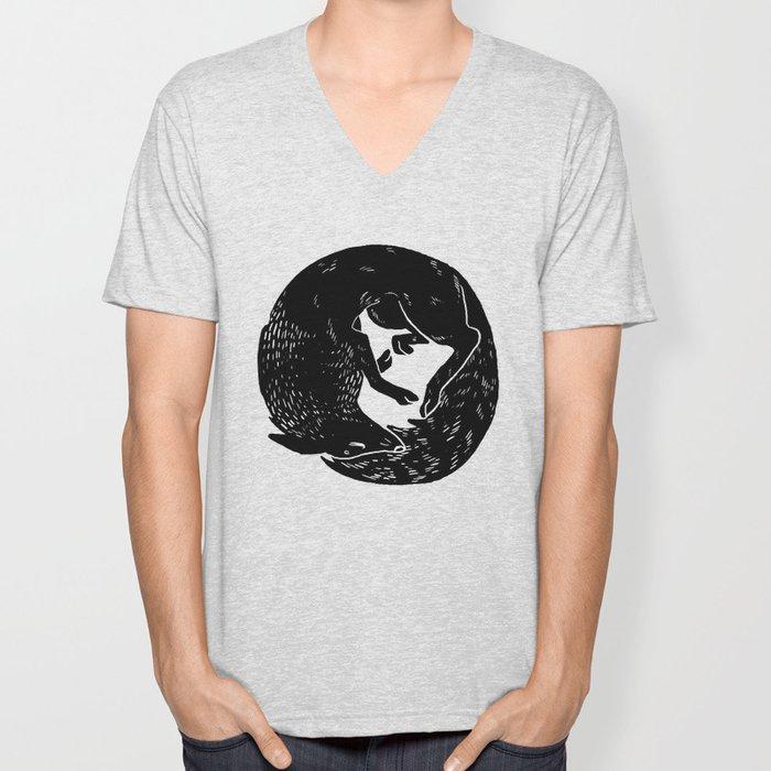 black and white thoughts Unisex V-Neck