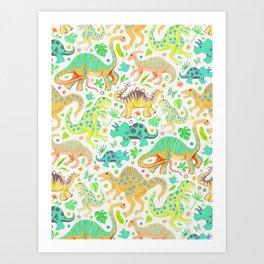 Happy Dinos - citrus colors Art Print