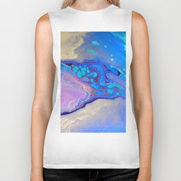 Slow Down Purple - Ultra Violet and Blue Fluid Pour Painting Abstract Biker Tank