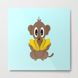 Lil Monkey in Blue Metal Print