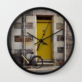 Yellow Door and Bike Wall Clock