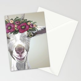 Flower Crown Goat Tan, Cute Goat Painting Stationery Cards