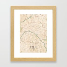 Paris, France - Vintage Map Framed Art Print