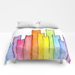 Rainbow of Cats Funny Whimsical Colorful Cat Animals Comforters