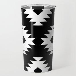 Southwestern Pattern 821 Black and White Travel Mug