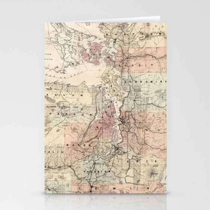 Vintage Map of The Puget Sound (1891) Stationery Cards