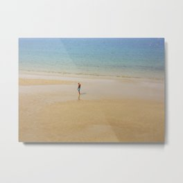 A Man on La Concha Beach in San Sebastian, Spain Metal Print