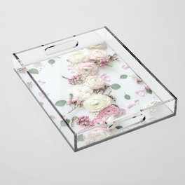 SPRING FLOWERS WHITE & PINK Acrylic Tray