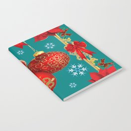 TEAL COLOR RED CHRISTMAS  ORNAMENTS &  POINSETTIAS FLOWER Notebook