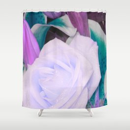 Lavender Teal Flowers Shower Curtain