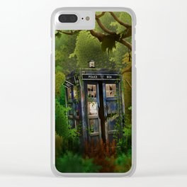 Abandoned Tardis doctor who in deep jungle Clear iPhone Case