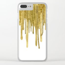 Gold paint drips Clear iPhone Case