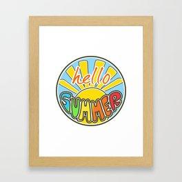 Hello Summer, colorful sticker, Summer sticker, summer t shirt, Framed Art Print
