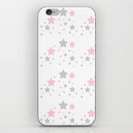 Pink Grey Gray Stars iPhone Skin
