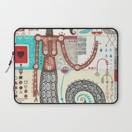 Snake girl, mystic abstract geometric colorful figurative mixed media painting Laptop Sleeve