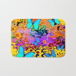 Yellow Floating Butterflies Flowers Dreamscape Bath Mat