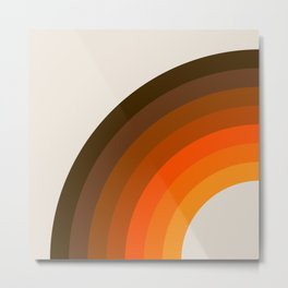 Retro Golden Rainbow - Left Side Metal Print