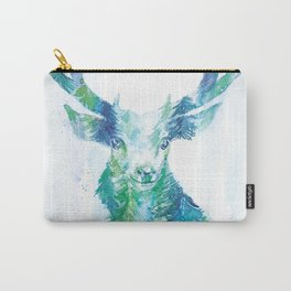 Oh Deer - Moonlight Forest Double Exposure Watercolor Art Carry-All Pouch