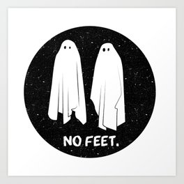 No Feet Ghosts Black and White Graphic Art Print