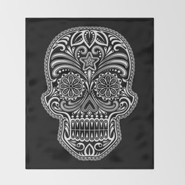 Intricate White and Black Day of the Dead Sugar Skull Throw Blanket