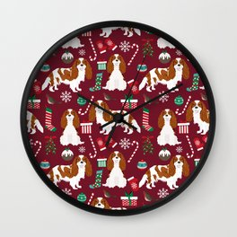 Cavalier King Charles Spaniel blenheim coat christmas pattern dog breed by pet friendly Wall Clock