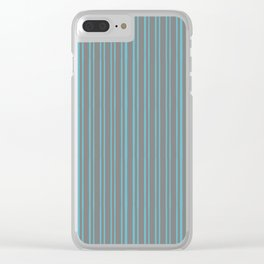 Grey Stripes on Aqua Clear iPhone Case