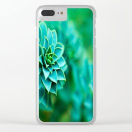 Green Succulent Mandala Clear iPhone Case