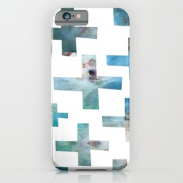 Wonky Swiss Cross in Teal iPhone Case