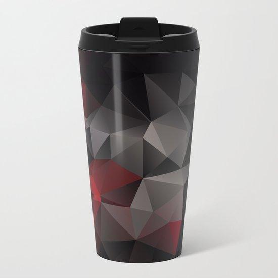 Polygon red black triangles . Metal Travel Mug