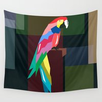 parrot Wall Tapestries featuring parrot by mark ashkenazi