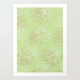 White and pink leaves in green blackground Art Print