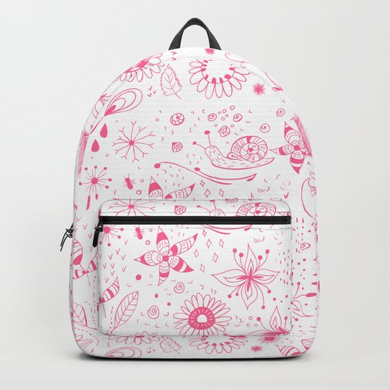 Pink doodle flowers pattern on white Backpack