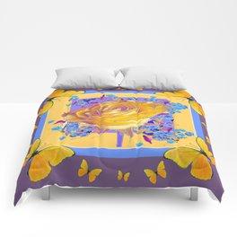 YELLOW BUTTERFLIES ART ROSE FLOWERS PUCE Comforters